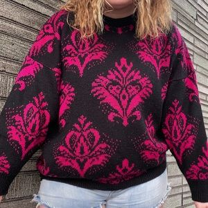 Vintage Pink and Black Knitted Sweater Top